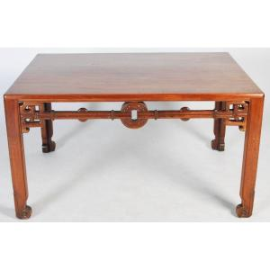 Large Chinese Table In Blond Wood Decorated With Sapeces