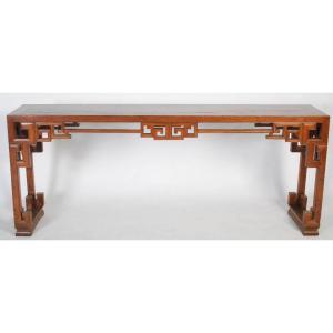 TrÈs Grande Table Console Chinoise En Bois Blond