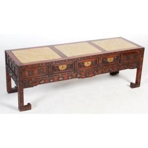 Table Basse Chinoise En Bois Dur Avec Inserts De Marbre Jaune