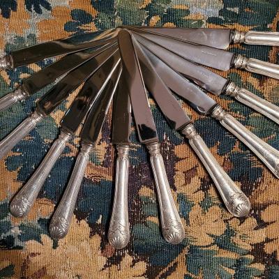 12 Couteaux  Manches Argent  De Puiforcat