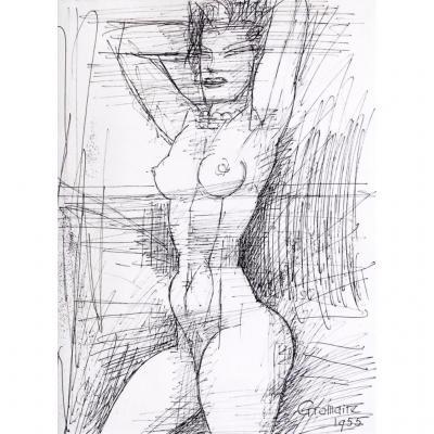 Marcel Gromaire : Femme Aux Bras Levés, 1955