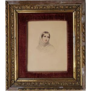 Fanny Corr – Geefs, Portrait de femme (# Romantisme romantique belge Navez Sand miniature)