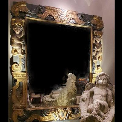 Important Golden Wood Frame And Carved, Italy XVIth Century