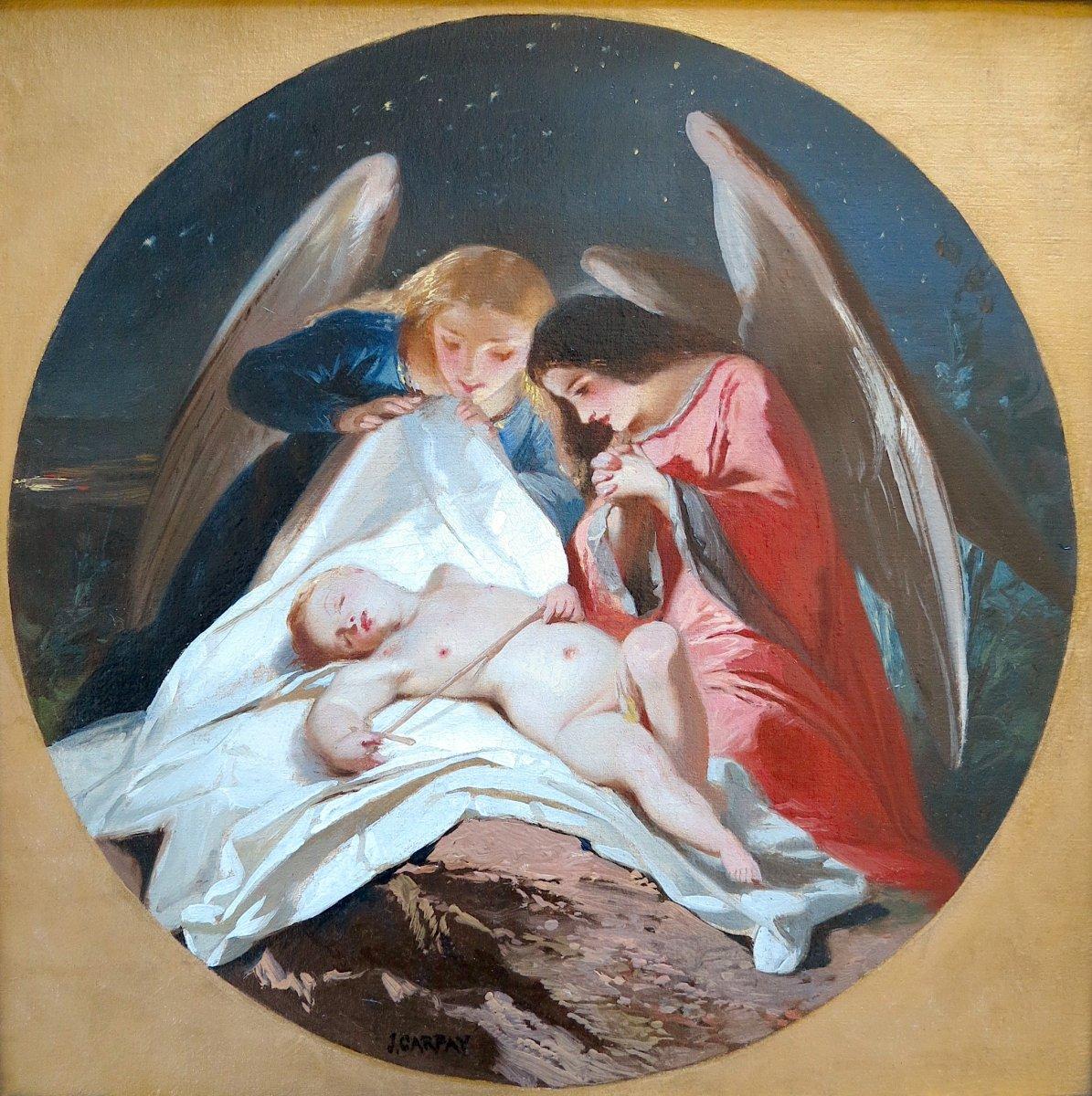 Paul Joseph Carpay (1822-1892) - Un ange de plus au ciel - Huile sur toile-photo-2