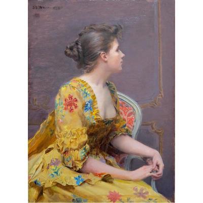 Jean Joseph Weerts (1846-1927) - Rêverie - Huile Sur Panneau Signé