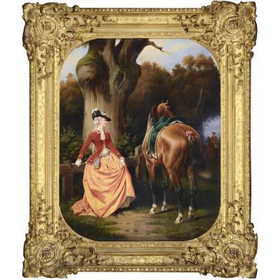 Ange Louis Janet-lange - l'Amazone, portrait de Madame de C... - Huile Sur Toile Signée