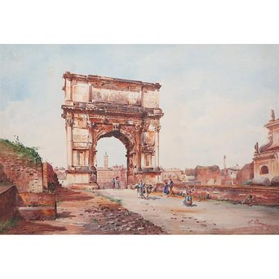 Stefano Donadoni - Arch Of Titus In Rome - Signed Watercolor