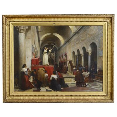 Louis Émile Adan (1839-1937) - A Preaching In The Church Of La Bocca Della Verità, Rome