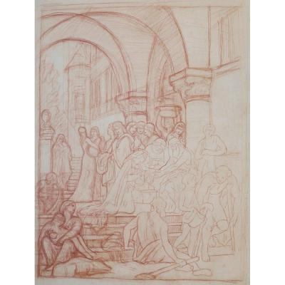 XIXth Century French School - St. Elizabeth Of Hungary Treating The Lepers - Red Chalk