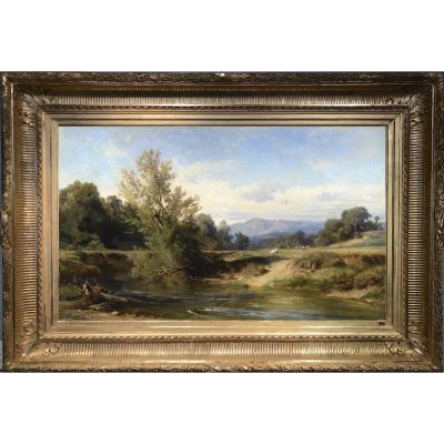 Achille Benouville (1815 - 1891) - The Teverone At Lunghezza ; Near Rome