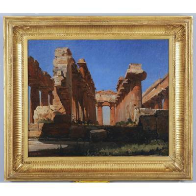 Jean-charles Geslin (1814 – 1887) - Paestum : Les Ruines Du Temple De Neptune