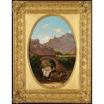 Antoine Claude Ponthus-cinier (1812 - 1885) - Panorama Of Malleval, Loire - Oil