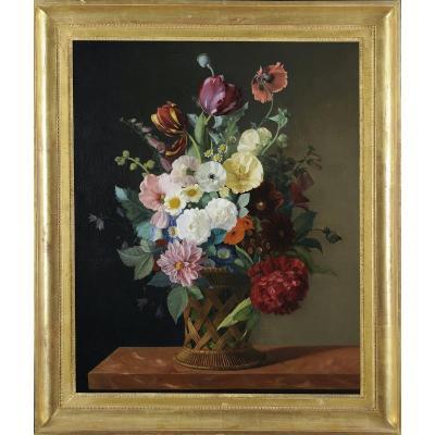 Jean-baptiste Gallet (1820-1848) - Bouquet De Fleurs Dans Un Panier - Huile Sur Toile - Signée
