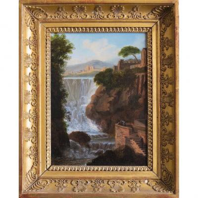 Pierre Antoine Marchais (1763-1859), Attributed To - Tivoli Waterfall - Oil On Canvas