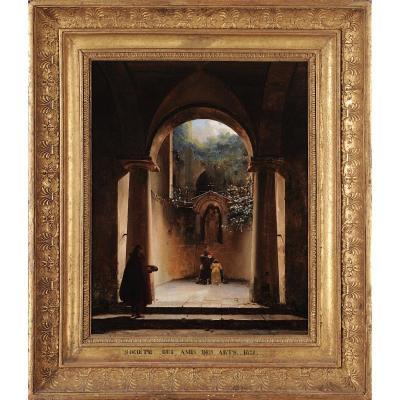 Henri-Édouard Truchot (1798–1822) - Prière à La Vierge Dans Une église En Ruine - Huile Signée