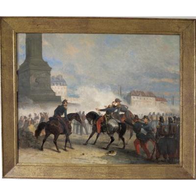 Nicolas Edward Gabe (1814–1865) - The Death Of General Négrier Place De La Bastille - Signed Oil