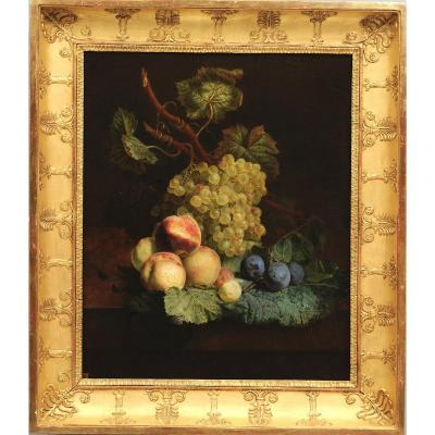Jean-françois Van Dael (1764–1840) - Grapes, Peaches, And Plums On An Entablature - Oil