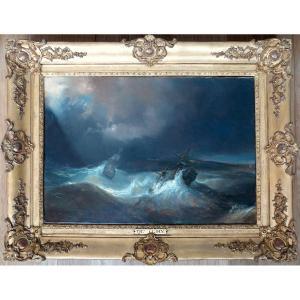 Théodore Gudin (1802-1880) - The Tempest - Oil On Canvas