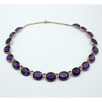 Necklace Line Of 18 Amethyst
