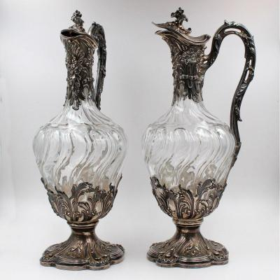 Pair Of Crystal And Silver Wine Decanters