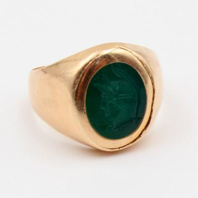 Signet Ring Decorated With A Green Chalcedony Intaglio
