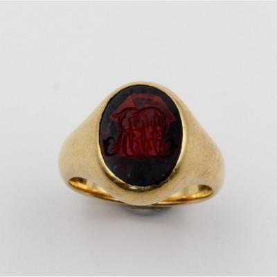 Monogrammed Yellow Gold Signet Ring On Garnet