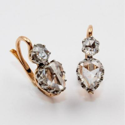 Pair Of Ear Pendants Decorated With Rose Cut Diamonds