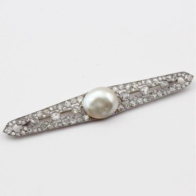 Broche barrette perle blister et diamants vers 1910