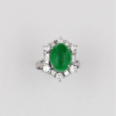 Natural Jadeite Ring Surrounded By Diamonds