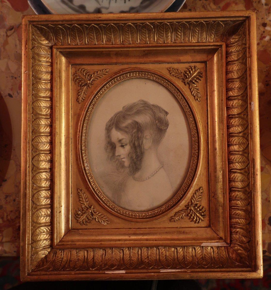 Portrait Litho Et Son Cadre En Bois Doré-photo-2