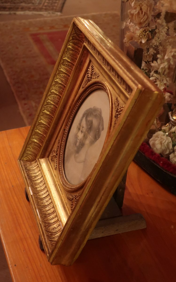 Portrait Litho Et Son Cadre En Bois Doré-photo-1