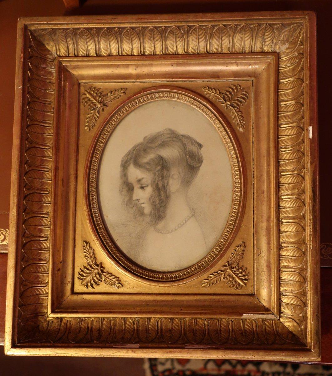 Portrait Litho Et Son Cadre En Bois Doré