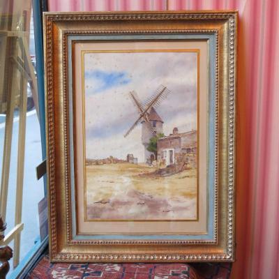 Aquarelle Signée Gustave de Launay