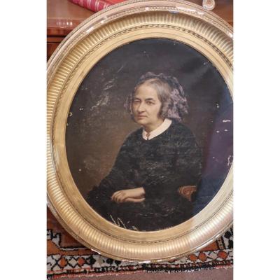 Portrait Huile Sur Toile  XIXe