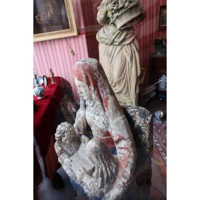 Statut En Tuffeau De Sainte-anne, La Vierge Et l'Enfant Jesus
