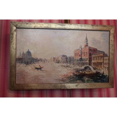 Huile Sur Toile Signée Péchaubes Représentant Venise