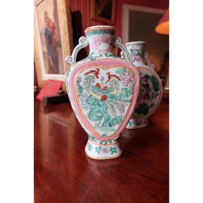 2 Vases En Porcelaine De Chine Fin XIXe