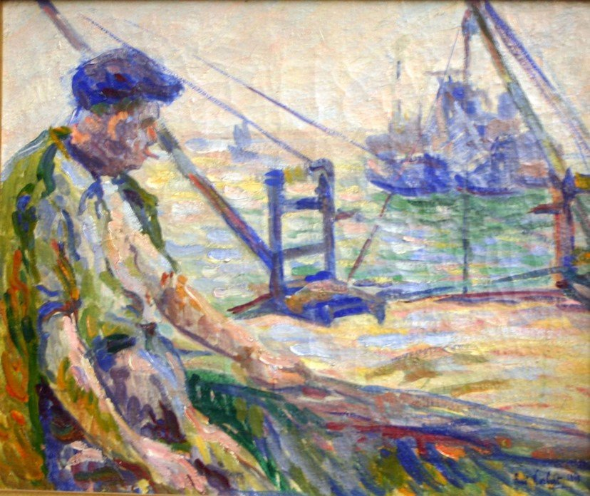 René Norbert, The Fisherman, Oil With Fauvist Accents.