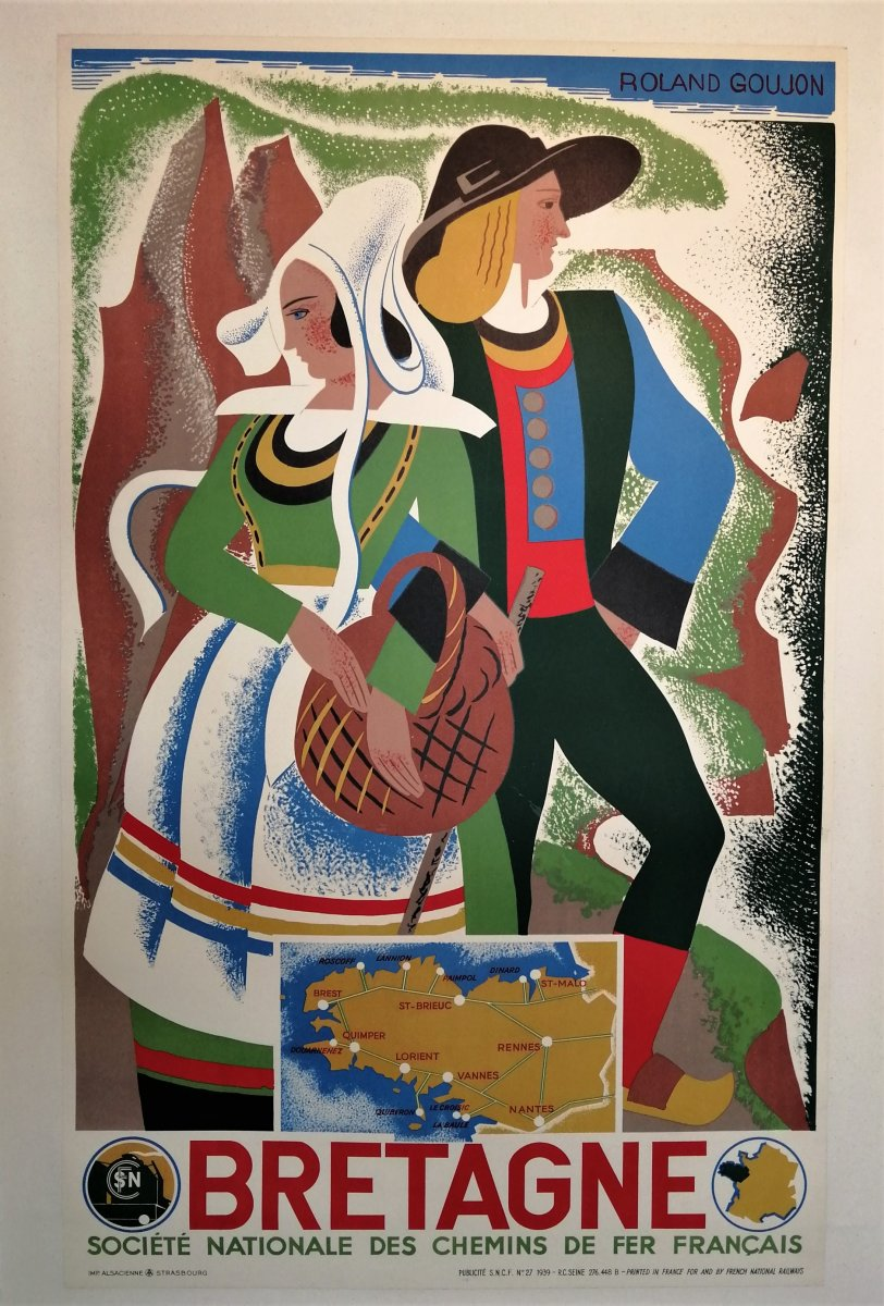 Antique Poster Brittany, Roland Goujon, 1939