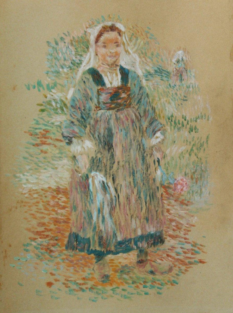Jean-Bertrand PEGOT-OGIER, jeune fille bretonne à la fleur, Bretagne