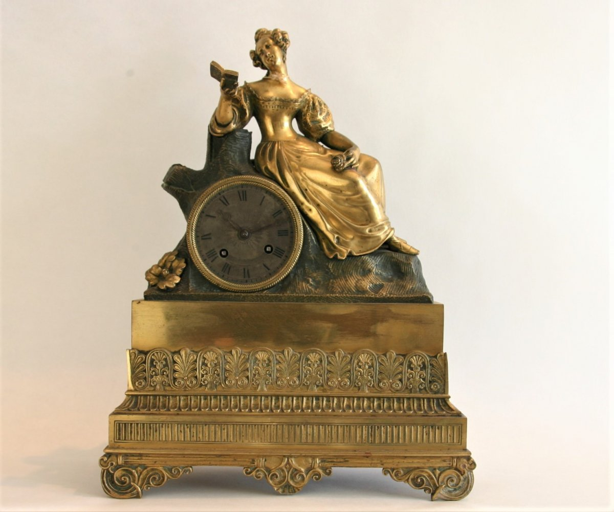 Romantic Clock, C.1830, Gilded Bronze