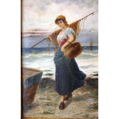 Le retour de la pêche, XIXème siècle, L.Pernett