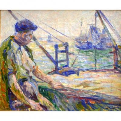 René Norbert, le pêcheur, huile aux accents fauviste.