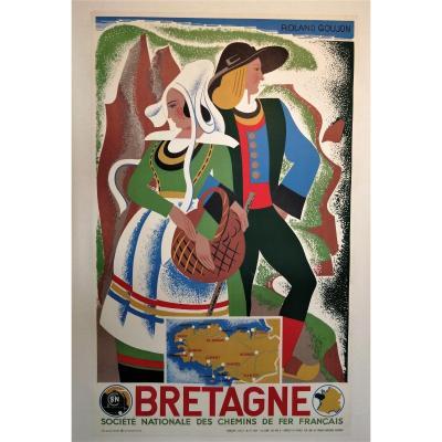 Affiche ancienne Bretagne, Roland Goujon, 1939