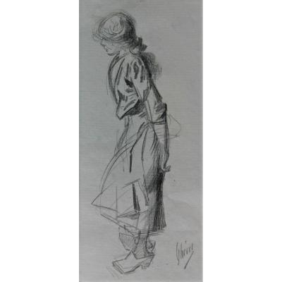 Jules Chéret, Young Woman Drawing