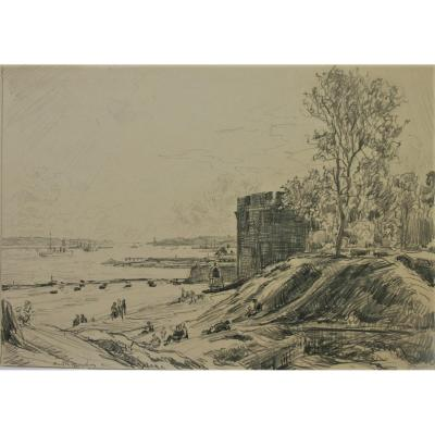André Dauchez, View Of Brest, Rare Drawing, 1935