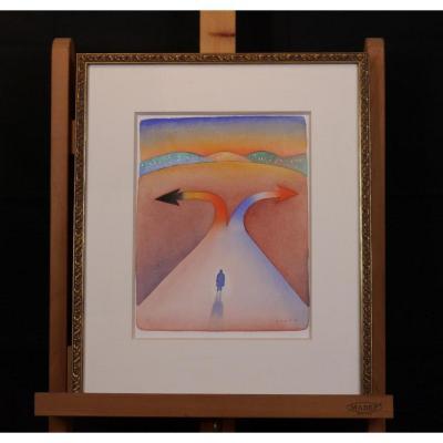 Folon (1934-2005), Aquarelle
