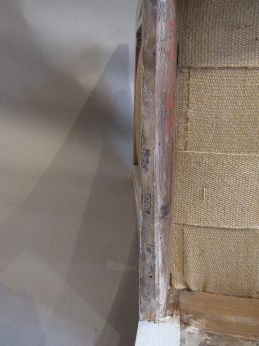 1 Chaise D'époque Empire, Laquée Gris Et Blanc.  Marque Au Feu Et Numéros D'inventaires Du Chât-photo-4