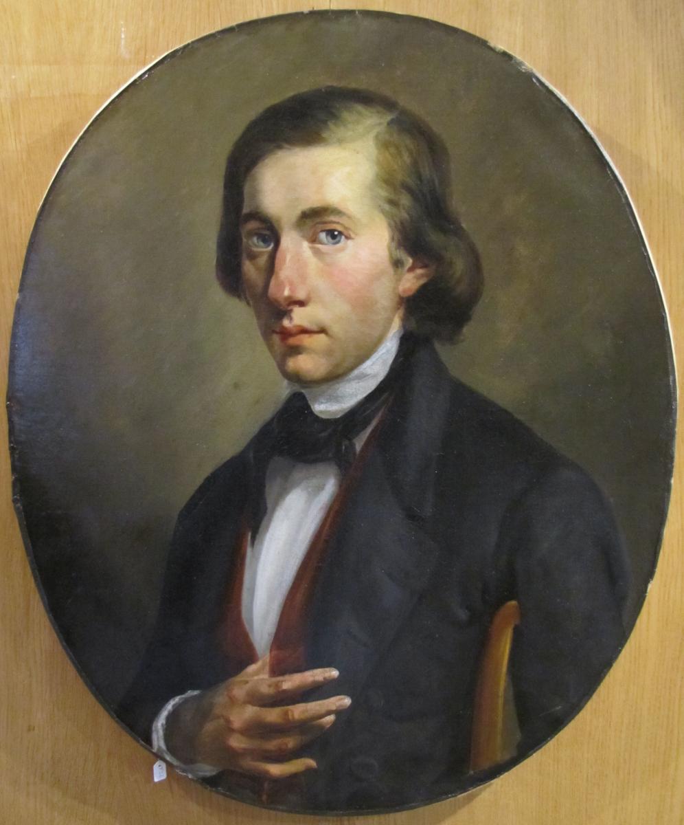 Portrait De Jeune Homme – école Française Du XIXè Siècle