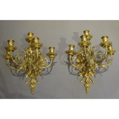 Paire d'Appliques 5 Feux En Bronze Doré De Style Napoléon III